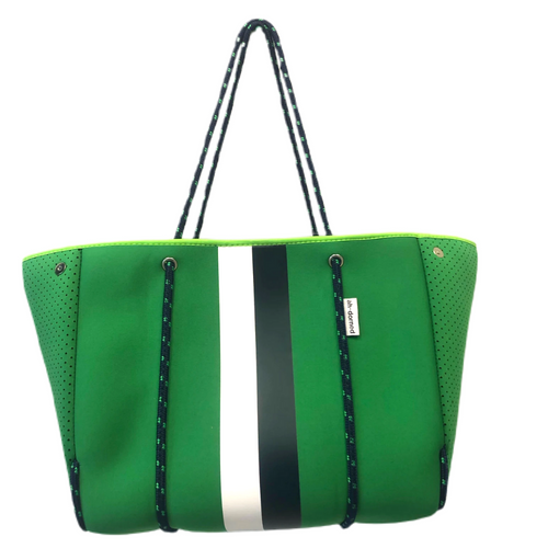 ah-dorned Stripe Neoprene Tote - Kelly Green with Navy and White Stripe