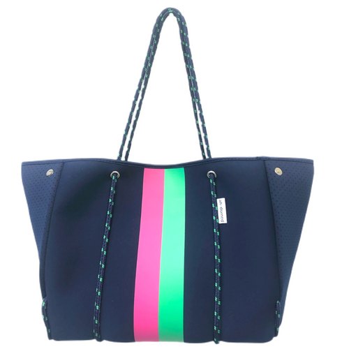 ah-dorned Stripe Neoprene Tote - Navy with Pink and Green Stripe