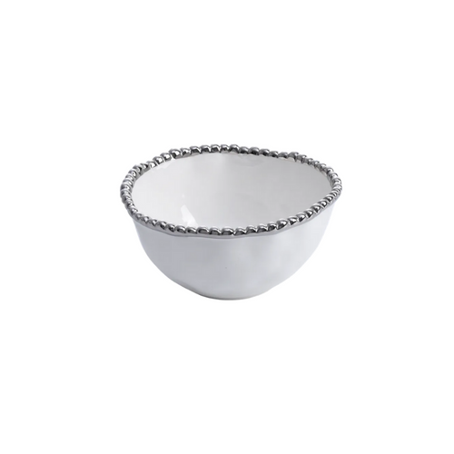 Pampa Bay - White & Silver Small Bowl
