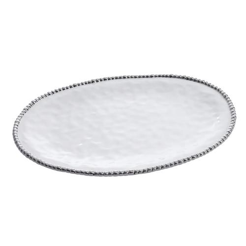 Pampa Bay - White & Silver Large Oval Platter