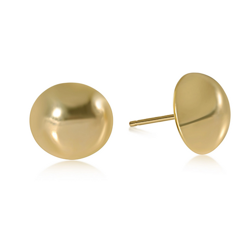 eNewton Classic 12mm Button Stud Earrings - Gold