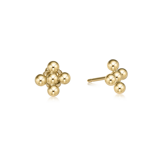 eNewton Classic Beaded 3mm Signature Stud Earrings - Gold Cross
