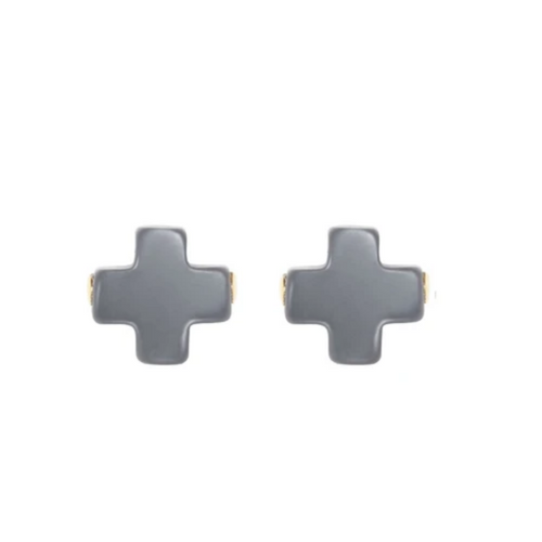 eNewton Signature Cross Stud Earrings - Charcoal
