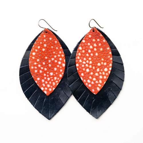 Keva Large Leather Layered Earrings - Coral Speckled with Navy Fringe