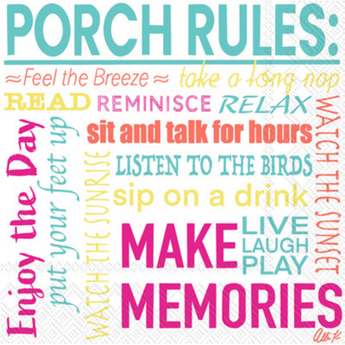 Cocktail Napkin - Porch Rules