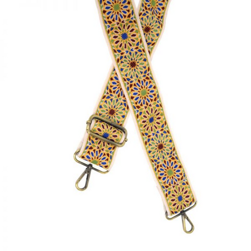 Joy Susan - Floral Embroidered Purse Guitar Strap - Yellow