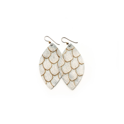 Keva Small Leather Earrings - Scalloped in Taupe and Cream