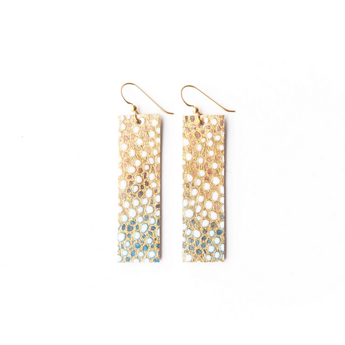 Keva Leather Rectangle Earrings - Gold and Blue Speckled