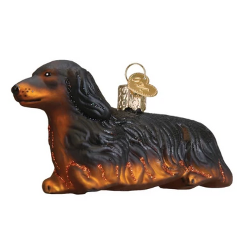Old World Christmas Long-Haired Dachshund Ornament
