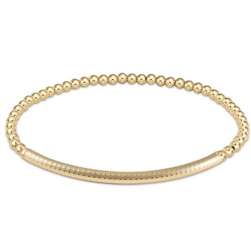 enewton Extends Bliss bar textured 3mm Bead Bracelet - Gold