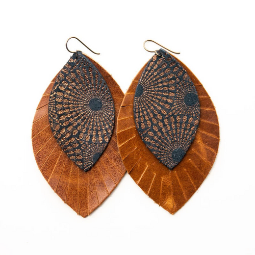 Keva Large Leather Layered Earrings - Starburst Blue and Bronze with Brown Fringe Base