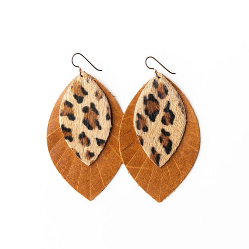 Keva Large Leather Layered Earrings - Leopard with Brown Fringe