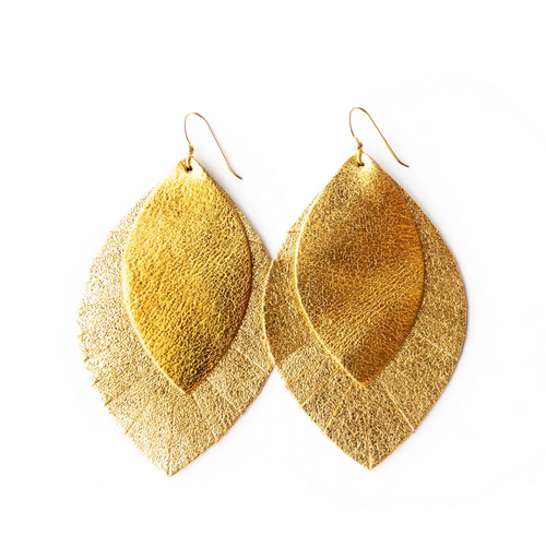 Keva Large Leather Layered Earrings - Gold with Gold Shimmer Fringe