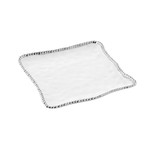 Pampa Bay -  White & Silver Square Serving Platter