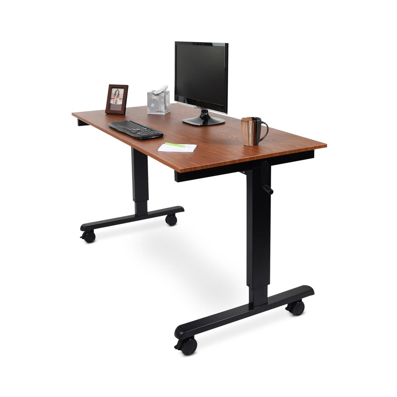 60w crank adjustable stand up desk teak