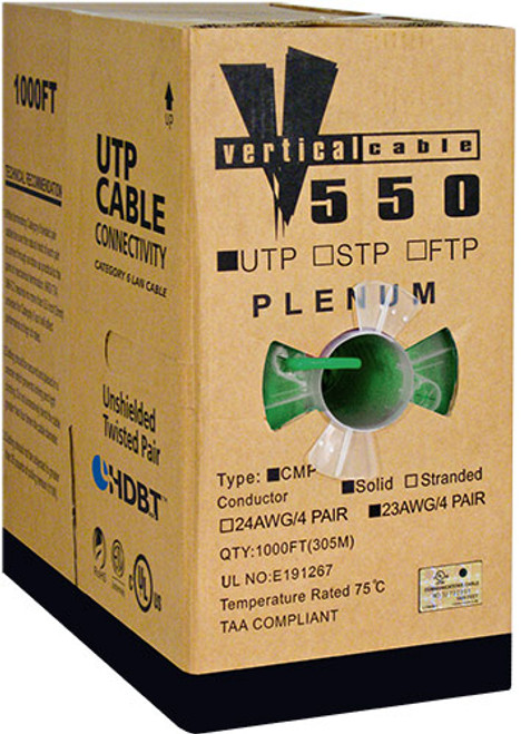 1000ft Cat6 Plenum Cable Pull Box 066-556/P/GR