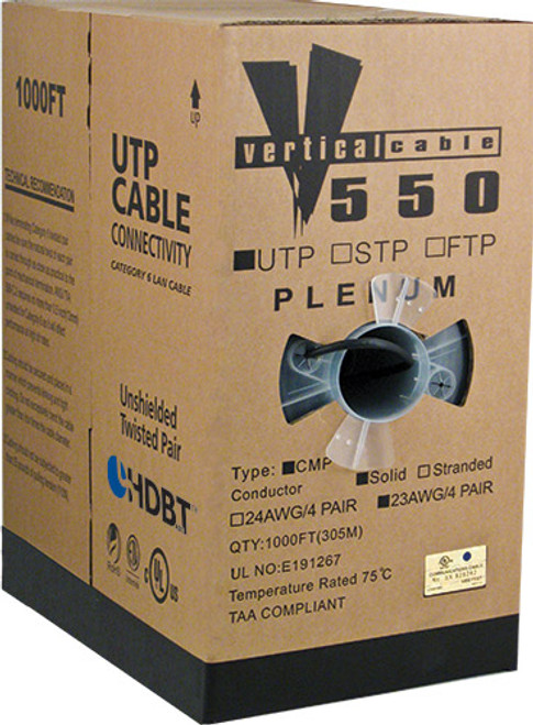 1000ft Cat6 Plenum Cable Pull Box 066-557/P/GY Gray