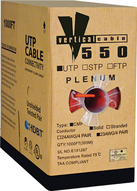 1000ft Cat6 Plenum Cable Pull Box 066-558/P/RD