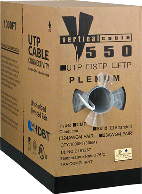 1000ft Cat6 Plenum Cable Pull Box 066-559/P/WH