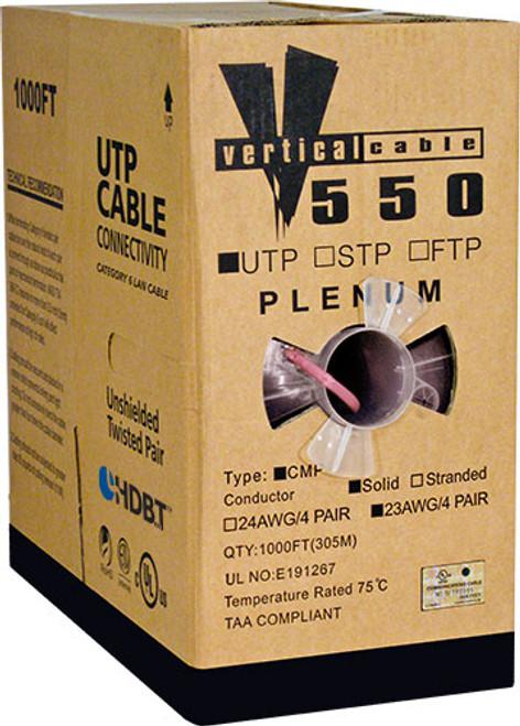 1000ft Cat6 Pink Plenum Cable Pull Box 166-255/P/PK