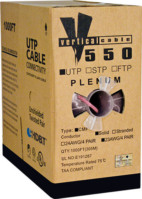 1000ft Cat6 Pink Plenum Cable Pull Box 166-255/P/PK