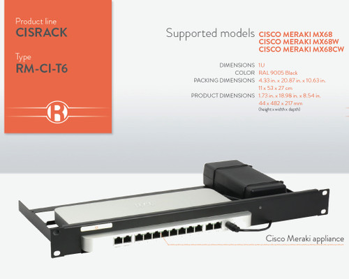 Cisco Meraki MX68 Firewall Mounting Kit RM-CI-T6