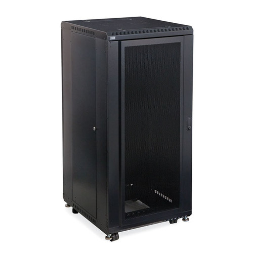 "Kendall Howard 3102-3-024-27 - 27U LINIER Server Cabinet - Convex/Glass Doors - 24"" Depth"