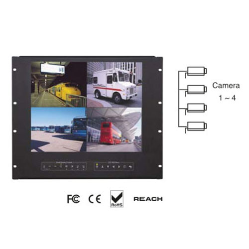 "1u 19"" Flip Up 4 Feed LCD Rackmount Monitor"