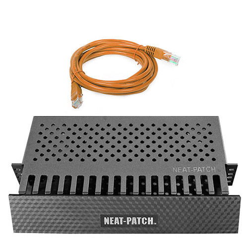 Rackmount Solutions RS NPKIT48-O - 2u Neat-Patch Cable Manager with 48 Orange Cat6 Cables