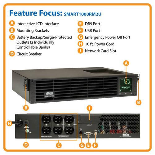 TrippLite 2u Rack Tower SmartPro 120V 1kVA 800W Line-Interactive Sine Wave UPS