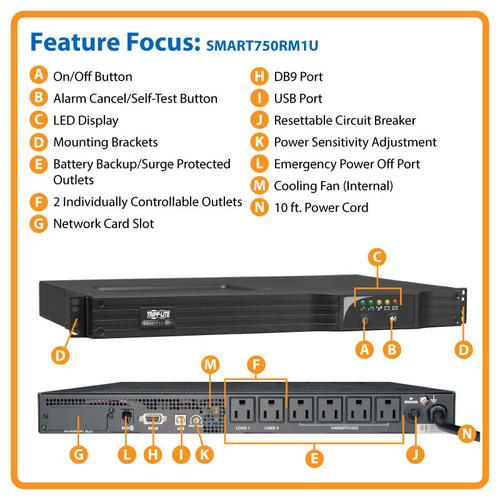 1u Rackmount Line-Interactive Sine Wave UPS SMART750RM1U