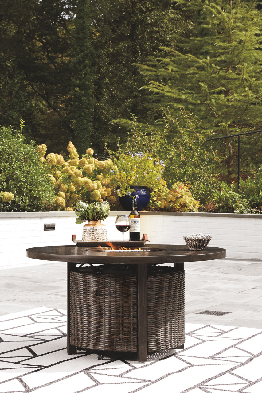 Paradise Trail Medium Brown Round Fire Pit Table On Sale At Furniture Frontier Serving Clinton Nc And Surrounding Areas