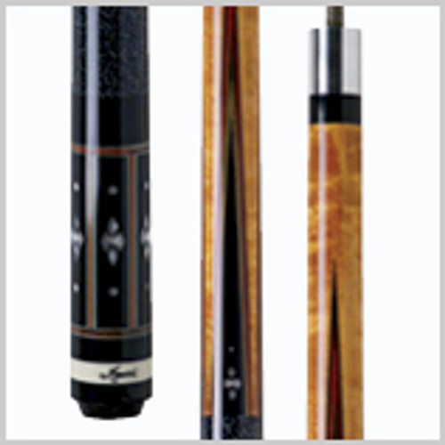 Cue Details Wood: Birds-eye Maple, Ebony Joint: 5/16 x 18 wood-to-wood Shaft: Black Dot Bullseye Tip: 12.75mm leather Joint Collar: Stainless steel Weight: 18-21oz. Butt Cap: Slim black & white with etched Meucci logo