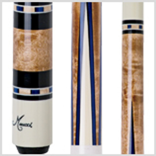 Cue Details Wood: Premium Maple Joint: 5/16 x 18 wood-to-wood Shaft: Black Dot Bullseye Tip: 12.75mm leather Joint Collar: White Weight: 18-21oz. Butt Cap: White with etched Meucci logo