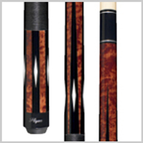Antique-stained super Birds-eye Maple forearm and butt with white poly diamonds on a graphic black field, solid double-pressed Irish linen wrap and black Implex joint and butt cap. Wood: 100% North American Grade A Hard Rock Maple   Joint: Black Implex  Tip: Le Pro tip   Weight: Standardized weighting system 18oz-21oz available   Butt cap: Black Implex