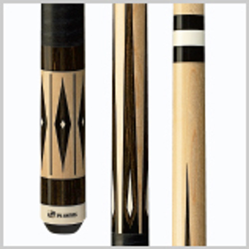 Bold, graphic natural Maple cue with Zebrawood, black and white diamond overlays, black stacked leather wrap, and white Implex joint collar and butt.Wood: 100% North American Grade A Hard Rock Maple   Joint: White Implex  Tip: Le Pro tip   Weight: Standardized weighting system 18oz-21oz available   Butt cap: White Implex