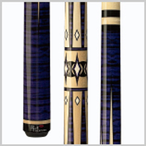 Players Flirt designs are created for women by women. Never again will you have to settle for a cue that wasn't tailor-made for you. This bold, graphic and beautiful purple Tiger-stripe Maple cue with center natural Maple, black and cream radiating point design has a sleek wrapless handle, wood/Implex joint collar and wood/Implex butt. Wood: 100% North American Grade A Hard Rock Maple   Joint: Implex/wood  Tip: Le Pro tip   Weight: Standardized weighting system 18oz-21oz available   Butt cap: Implex/wood