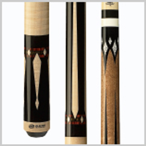 Classic and bold traditional style technology cue with black forearm and butt, windowpane drop speared diamond points, graphic Cocobola/Bocote bands, sleek wrapless handle, wood joint collar and HXT Low Deflection Technology shaft. Wood: 100% North American Grade A Hard Rock Maple   Joint: Wood-on-wood  Tip: Kamui Black   Weight: Standardized weighting system 18oz-21oz available   Butt cap: Wood
