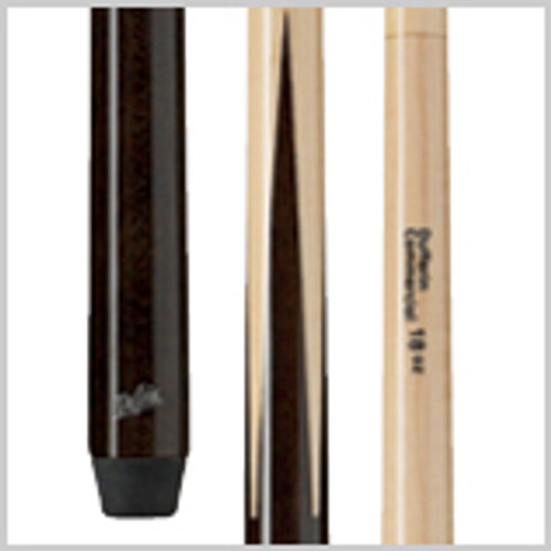 "Dufferin Commercial Cue Features      100% Canadian Hard Rock Maple     True four-prong construction for a rock solid hit     Only cue in its price point with a ""Super UV"" finish — protects against fading and warping     Two-piece bonded with pro taper     Linen ring around the cue base prevents cracking and chipping     Screw-in butt stopper won't come out"