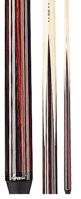 """Lucasi Bonded One-piece Cue Features      100% guaranteed straight     15 inch pro taper plays and feels like a two-piece cue     High-impact fiber ferrule     Le Pro tip pre-shaped and scuffed to a dime radius     True Rosewood four-prong construction for a rock solid hit and upscale look     Linen ring around the base of the cue to prevent cracking     Screw-in butt stoppers that won't fall out     High polish """"Super UV"""" finish"""