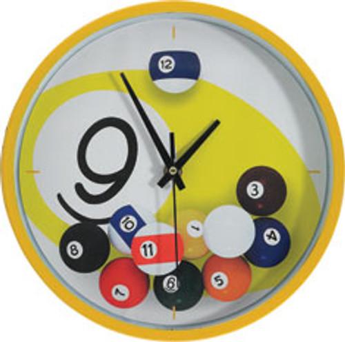 Gameroom Accessories -  9 Ball Falling Balls Clock