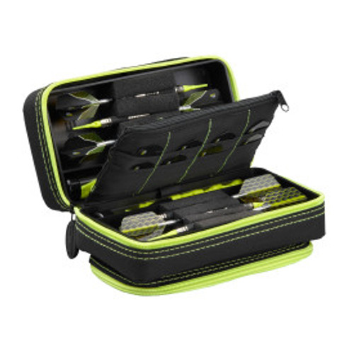 Casemaster Plazma Pro Dart Case Black with Yellow Zipper and Phone Pocket