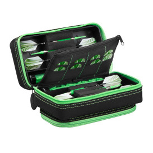 Casemaster Plazma Pro Dart Case Black with Green Zipper and Phone Pocket