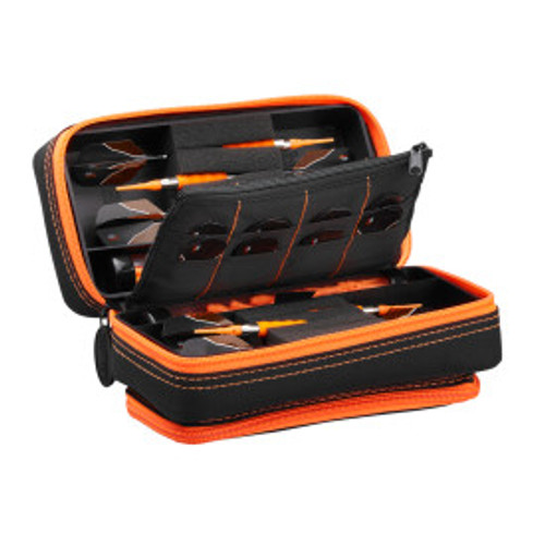 Casemaster Plazma Pro Dart Case Black with Orange Zipper and Phone Pocket