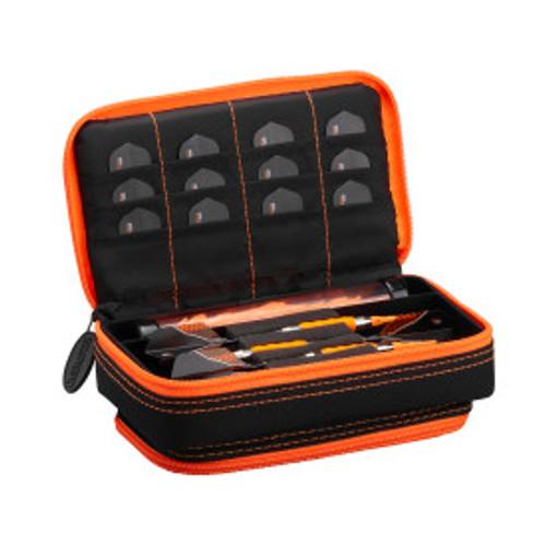 Casemaster Plazma Plus Dart Case Black with Orange Zipper and Phone Pocket