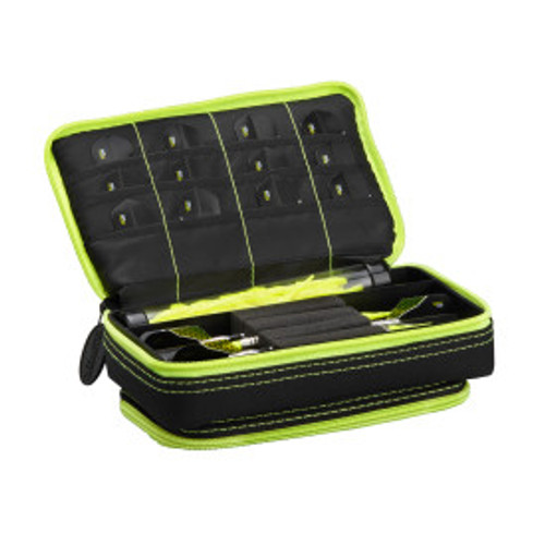 Casemaster Plazma Plus Dart Case Black with Yellow Zipper and Phone Pocket