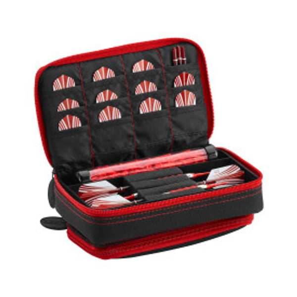 Casemaster Plazma Plus Dart Case Black with Ruby Zipper and Phone Pocket