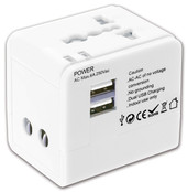 Global Adapter with Dual USB Charger
