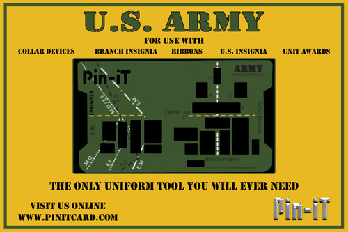 Army Pin-iT Card. Military Uniform Tool