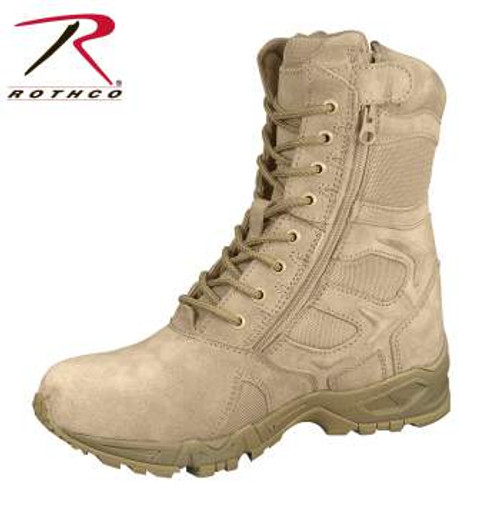 """Rothco Tan Forced Entry 8"""" Deployment Boots With Side Zipper"""